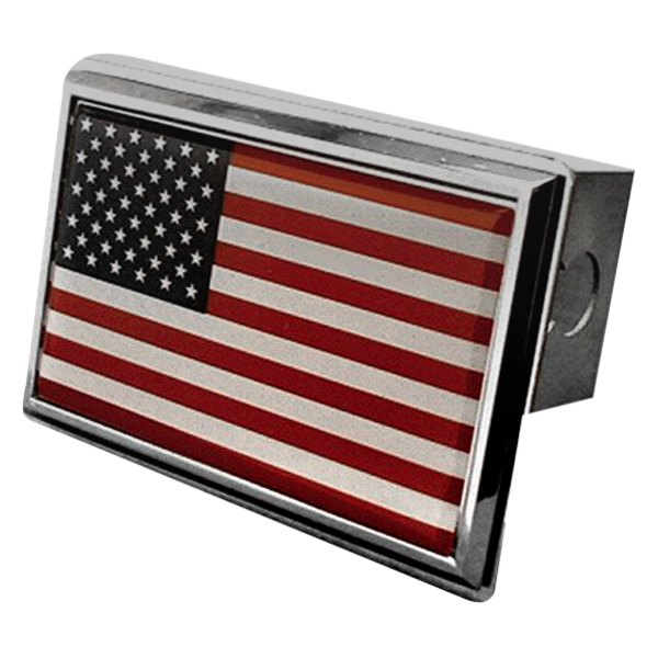 Autogold® - Chrome Hitch Cover with US Flag Logo