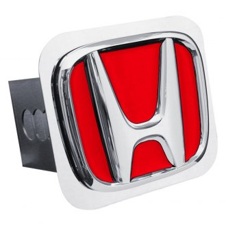 "Autogold® - Chrome Hitch Cover with Honda ""Red Fill"" Logo"