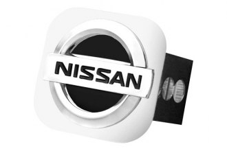 Autogold® - Black and Chrome Hitch Cover with Nissan Logo