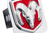 Autogold® - Chrome Hitch Cover with Ram OEM Red Logo