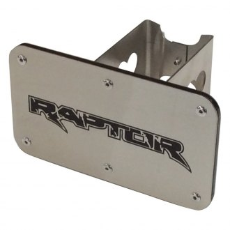 "Autogold® - Laser Cut Brushed Hitch Cover with Raptor Logo for 2"" Receivers"