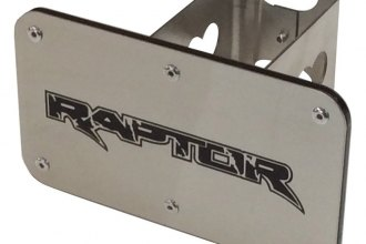 Autogold® - Laser Cut Brushed Stainless Hitch Cover with Raptor Logo