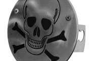 Autogold� - Laser Cut Brushed Stainless Hitch Cover with Skull Logo