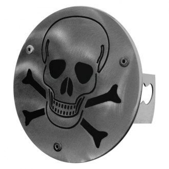 Autogold® - Brushed Stainless Hitch Cover with Skull Logo