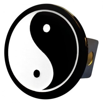 Autogold® - White with Black Hitch Cover with Yin Yang Logo