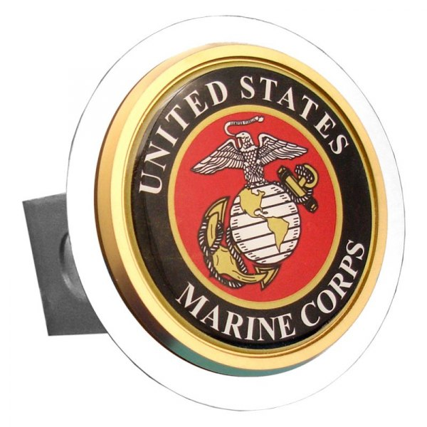 Autogold® - Chrome Hitch Cover with US Marine Corps Class 2 Logo