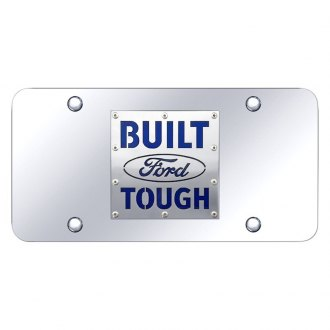 Autogold® - Chrome License Plate with Chrome Built Ford Tough Logo
