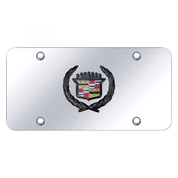 Cadillac 3D Emblem Golden Emblem Stainless Steel License Plate Frame Rust Free