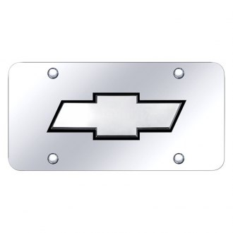 Autogold® - Chrome License Plate with Black / Chrome Chevrolet New Logo
