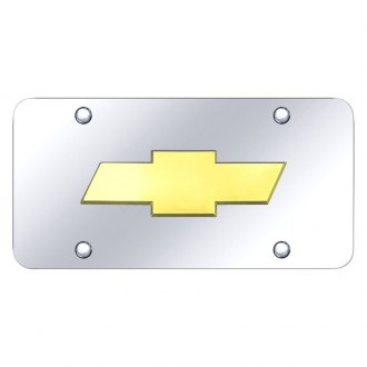 Autogold® - Chrome License Plate with Gold Chevrolet New Logo