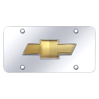 Autogold® - Chrome License Plate with Gold OEM Chevrolet Emblem