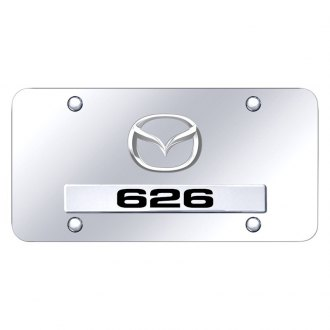 Autogold® - Chrome License Plate with 3D Chrome 626 Logo and Mazda Emblem