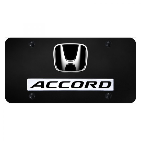 Autogold 174 D Acc Cb Black License Plate With 3d Chrome