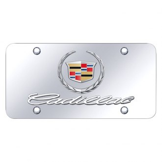 Autogold® - Chrome License Plate with Chrome Cadillac New Logo and Emblem