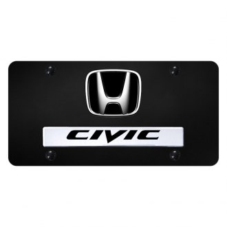 Autogold® - License Plate with 3D Civic Logo and Honda Emblem