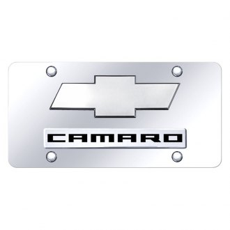 Autogold® - Chrome License Plate with 3D Chrome Camaro Logo and Chevrolet Emblem