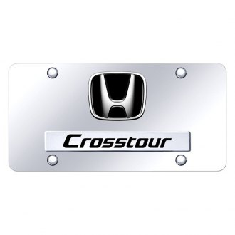 Autogold® - Chrome License Plate with 3D Chrome CrossTour Logo and Honda Emblem