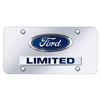 Autogold® - Chrome License Plate with 3D Chrome Ford Limited Logo and Emblem