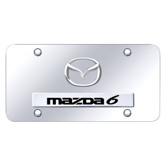 Autogold® - Chrome License Plate with Chrome Mazda 6 New Logo and Mazda Emblem