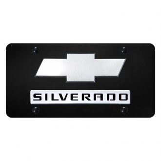 Autogold® - License Plate with Silverado New Logo and Chevrolet Emblem