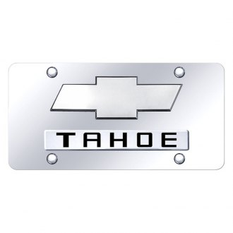 Autogold® - Chrome License Plate with Chrome Tahoe New Logo and Chevrolet Emblem