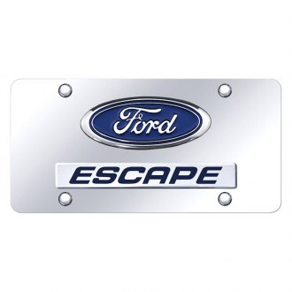 Autogold® - Chrome License Plate with 3D Chrome Escape Logo and Ford Emblem