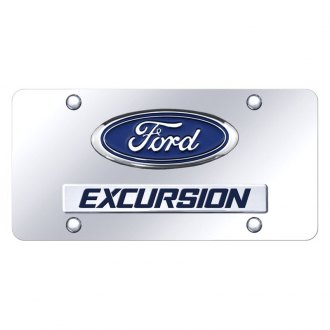 Autogold® - Chrome License Plate with 3D Chrome Excursion Logo and Ford Emblem