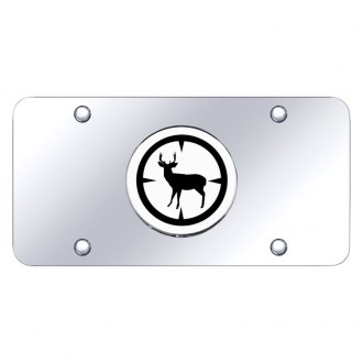Autogold® - Chrome License Plate with 3D Chrome Deer Hunter Logo