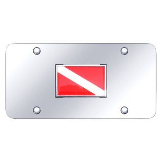 Autogold® - Chrome License Plate with 3D Dive Flag on Logo