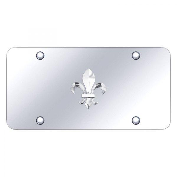 Fleur-De-Lis FDL 3D Logo Chrome Stainless Steel License Plate