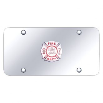 Autogold® - Chrome License Plate with 3D Fire Department Logo
