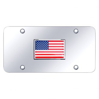 Autogold® - Chrome License Plate with Flag Logo