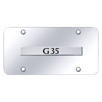 Autogold® - Chrome License Plate with Chrome G35 Logo
