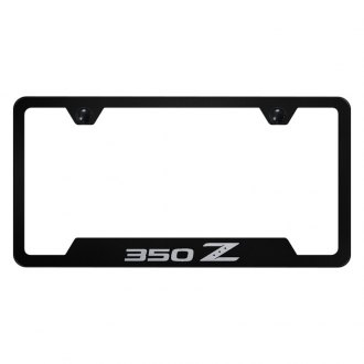Autogold® - Black License Plate Frame with Laser Etched 350Z Logo and Cut-Out