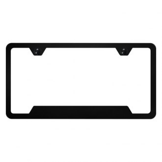 Autogold® - Slimline Plain 2-Hole Black Powder Coated License Plate Frame with Cut-Out