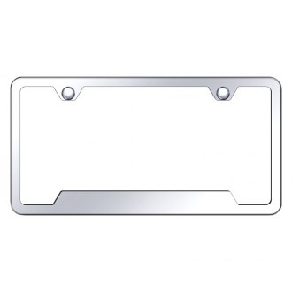 Autogold® - Slimline Plain 2-Hole Chrome License Plate Frame with Cut-Outs