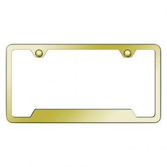 Autogold® - Slimline Plain 2-Hole Gold License Plate Frame with Cut-Out