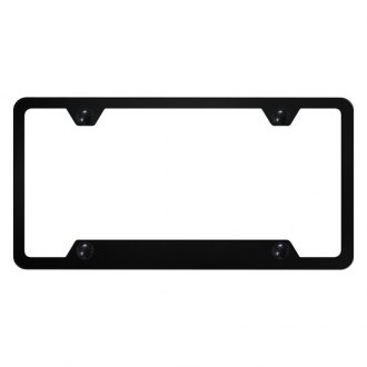 Autogold® - 4-Hole Bottom Black License Plate Frame with Cut-Out