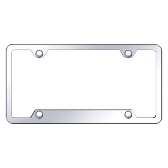 Autogold® - 4-Hole Bottom Chrome License Plate Frame with Cut-Out