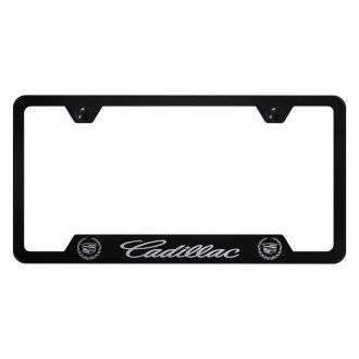 Autogold® - Black License Plate Frame with Laser Etched Cadillac Logo and Emblem and Cut-Outs