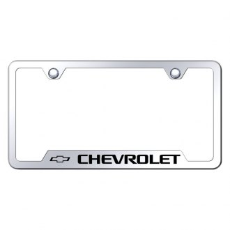 Autogold® - Chrome License Plate Frame with Laser Etched Chevrolet Logo and Cut-Outs