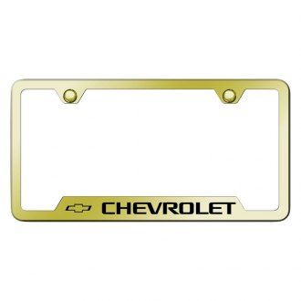 Autogold® - Gold License Plate Frame with Laser Etched Chevrolet Logo and Cut-Outs