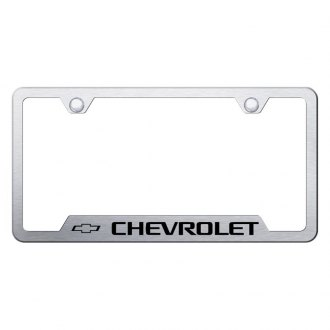 Autogold® - Brushed License Plate Frame with Laser Etched Chevrolet Logo and Cut-Outs