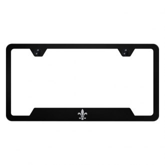 Autogold® - Black License Plate Frame with Laser Etched Fleur-De-Lis Logo and Cut-Outs