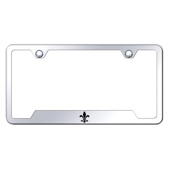 Autogold® - Chrome License Plate Frame with Laser Etched Fleur-De-Lis Logo and Cut-Outs