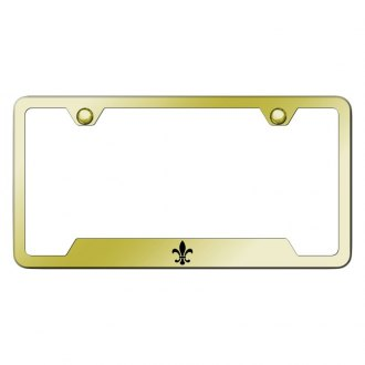 Autogold® - Gold License Plate Frame with Laser Etched Fleur-De-Lis Logo and Cut-Outs