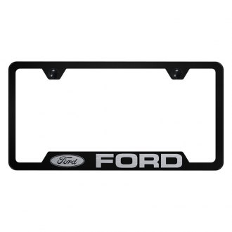 Autogold® - Black License Plate Frame with Laser Etched Ford Logo and Cut-Out