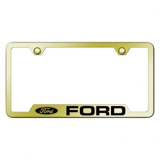 Autogold® - Gold License Plate Frame with Laser Etched Ford Logo and Cut-Outs