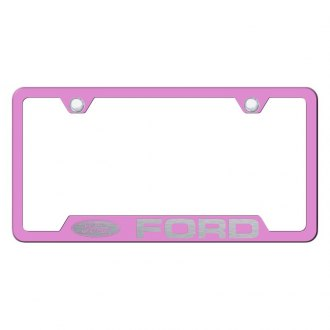 Autogold® - Pink License Plate Frame with Laser Etched Ford Logo and Cut-Outs