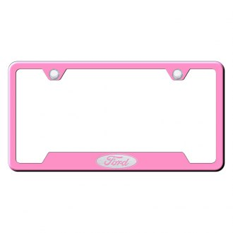 Autogold® - Pink License Plate Frame with Laser Etched Ford Only Logo and Cut-Out